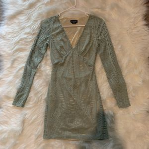 Bebe Mint Green Gold Inlay Mesh Mini Dress XS